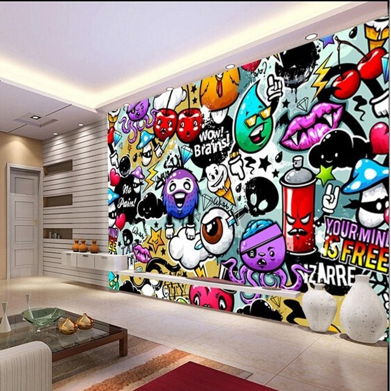 Compra pared de graffiti murales de papel tapiz online al for Carta parati murales