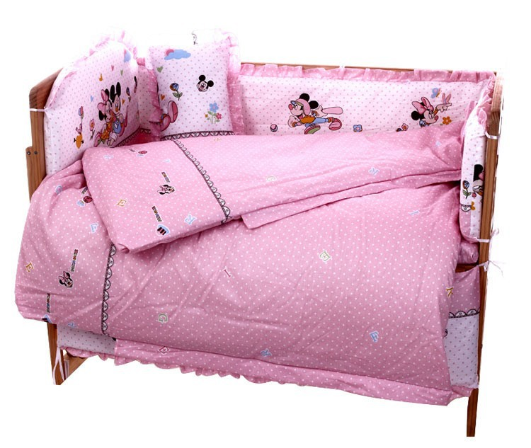 Promotion 7pcs Mickey Mouse baby bedding cot 4bumper 100 cotton Crib Sheet kit berco 4bumper duvet