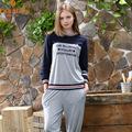 Spring Autumn Casual Women Long Pajama Sets Cotton Soft Female Pyjamas Homewear Letter Printed Women Sleepwear