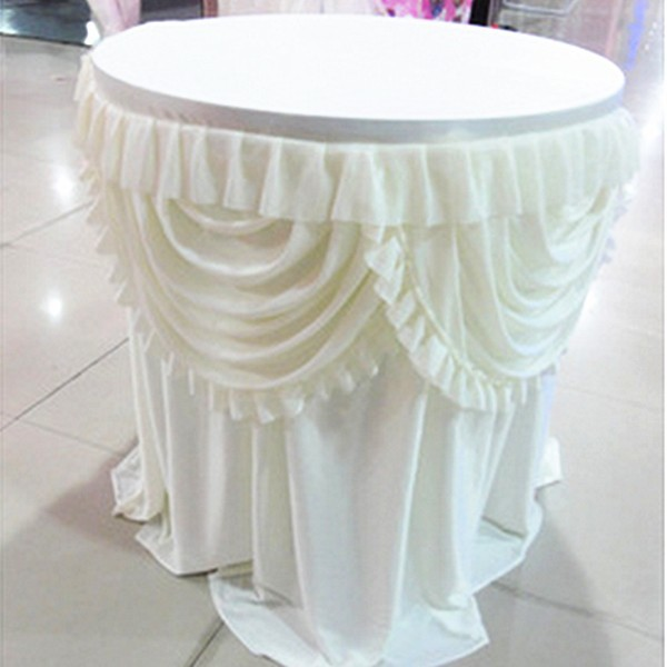 Round Table Skirts Decorator.Wholesale Round Table Skirt Wedding Decorative Champagne Table Skirt With Double Swags White And Pink New Arrival 2017