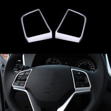 2 Pcs/Set Car Steering Wheel Sequins Cover Interior Decoration Trim For Hyundai Tucson 3th 2015+   2016 ABS Accessories