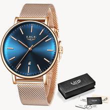 Женские кварцевые часы LIGE, часы розового золота в подарок, 2019(Китай)