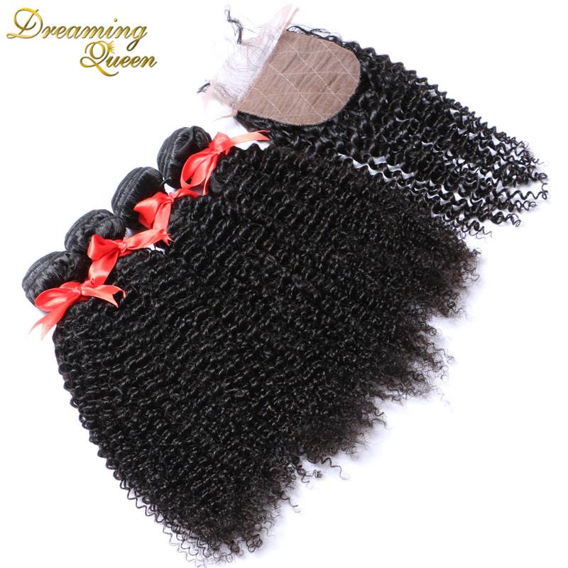 7A Best Brazilian Kinky Curly With Silk Base Closure Afro Kinky Curly Hair With Silk Closure