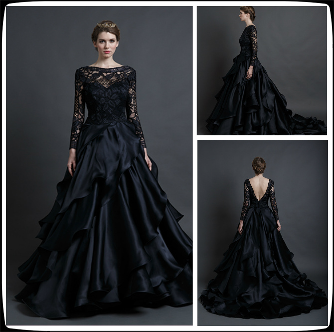Gothic Black Lace Wedding Dress Long Ball Gown Bridal Gown: Medieval & Fantasy Minecraft