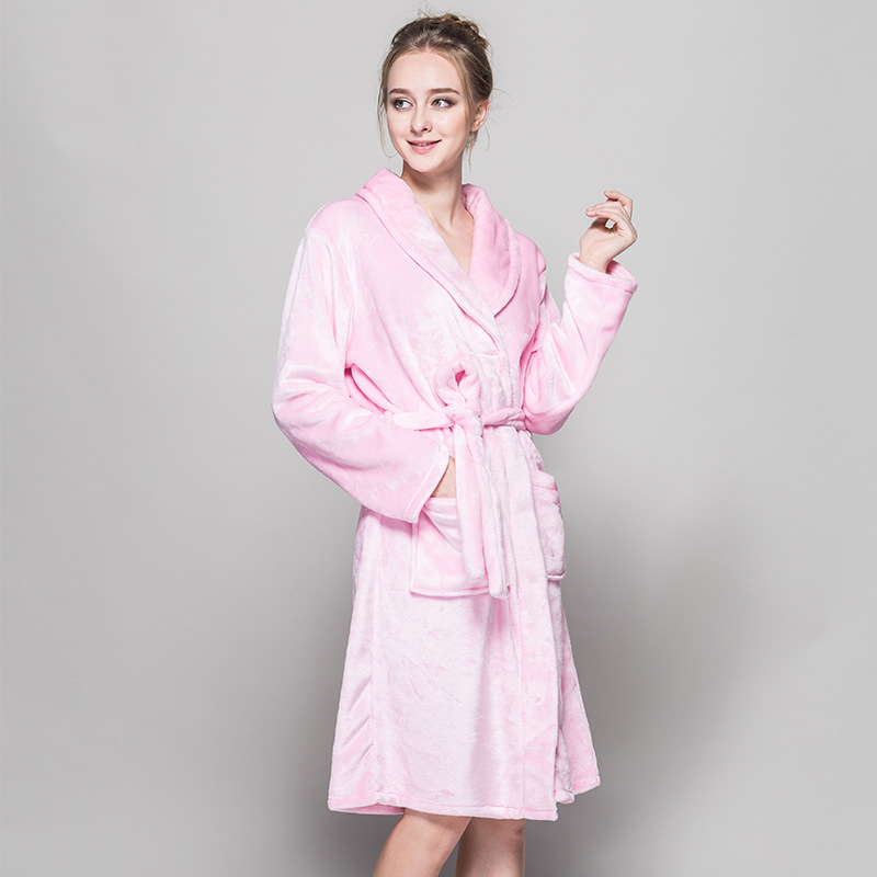 best collection good service professional sale Flannel Bathrobes Women Ladies Pink Bridesmaid Long Night ...
