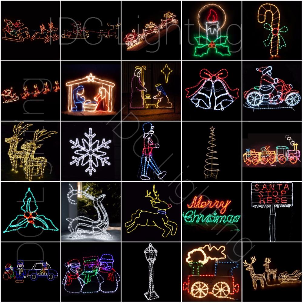 Outdoor Animated Rope Light Train Motif Light 3d Christmas