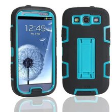 For Samsung Galaxy S3 SIII i9300 Defendered Hybrid Rubber Rugged Combo Matte Case Hard Cover w/Protect With Stand