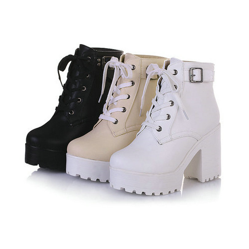 216cb217a4d1 Новый 2016 зима кружева-up мода на платформе для женщин ботинки панк-мартин  сапоги