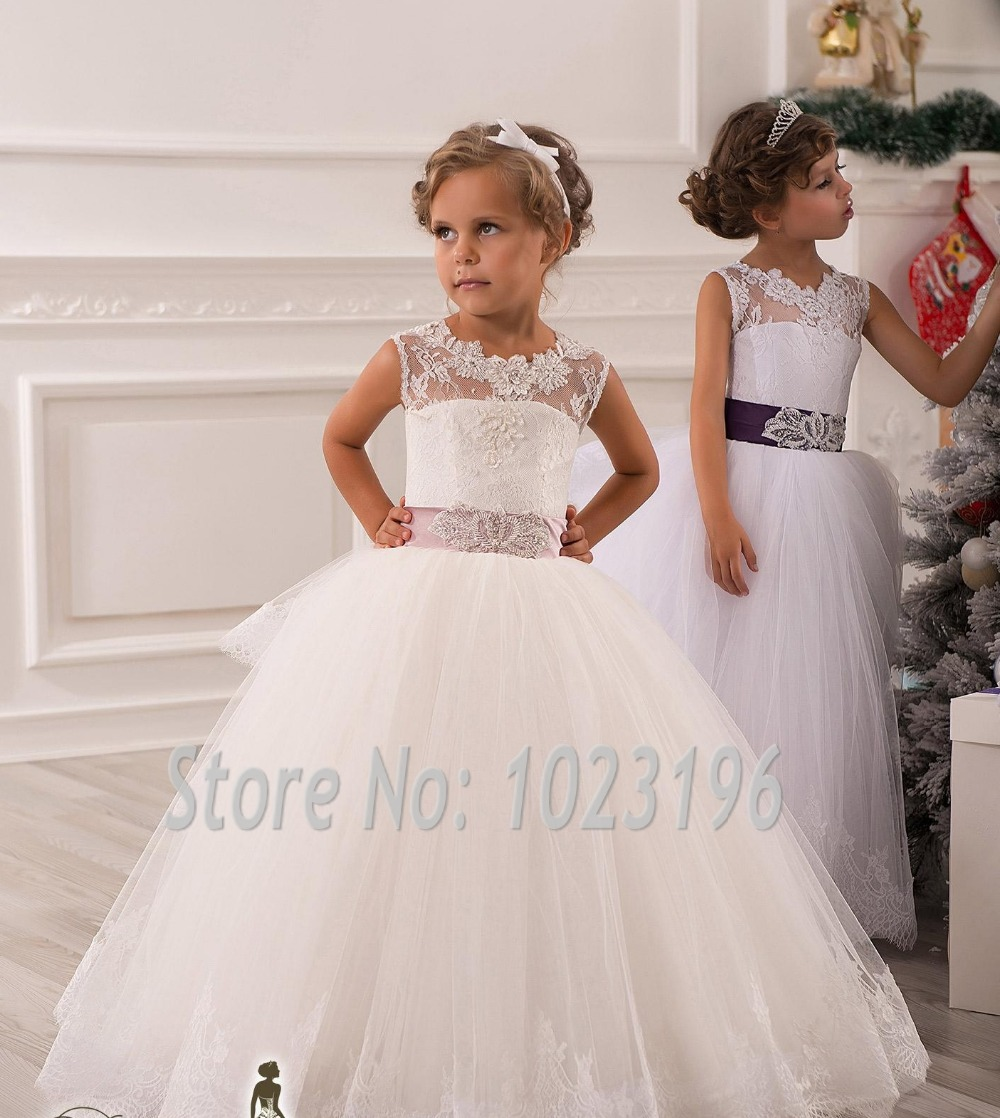 Hot Real Image Ivory White Lace Flower Girls Dresses 2015 ...