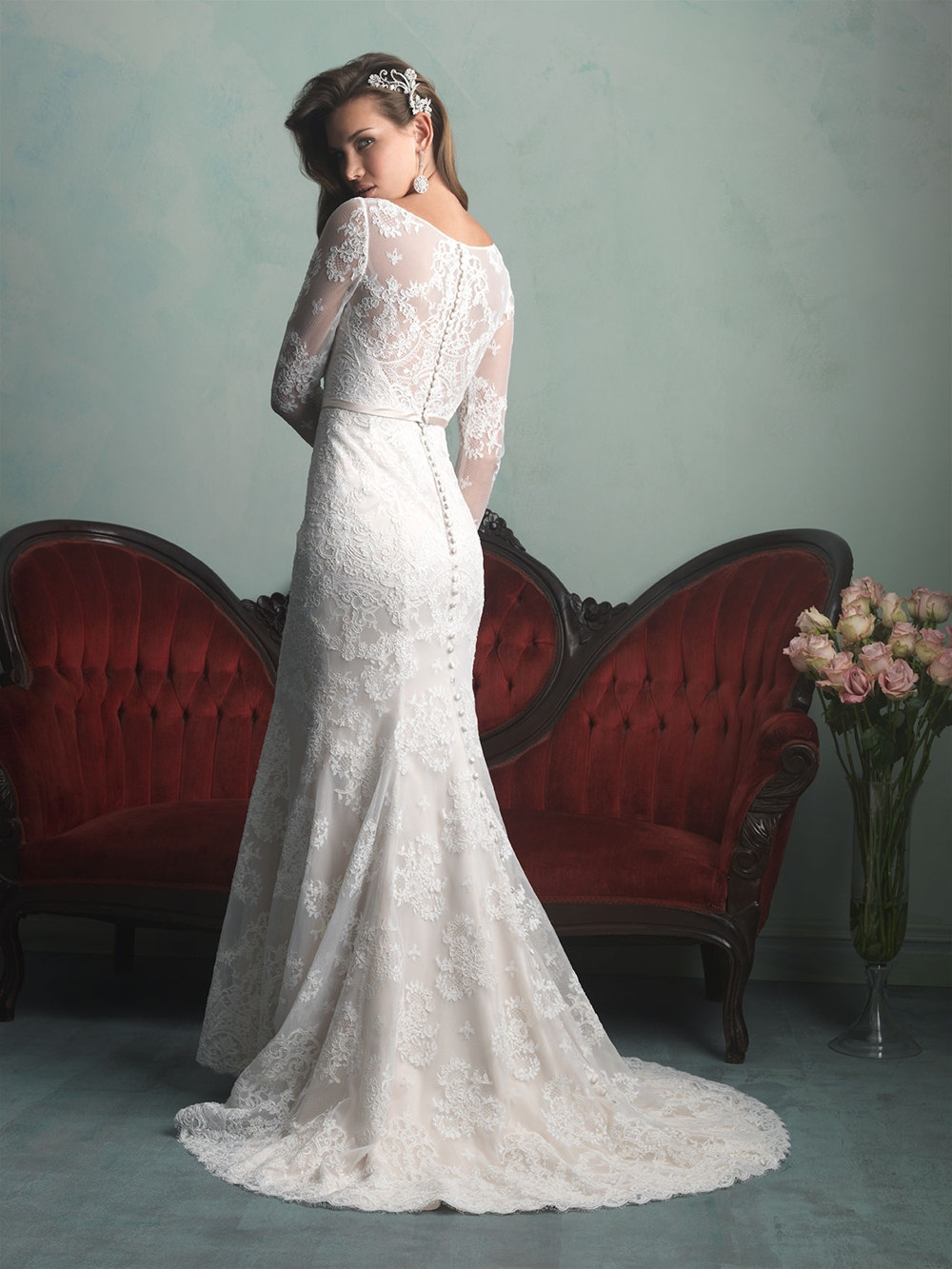 New Style Wedding Dress: New Style .2014 Elegant Scoop Mermaid Sashes Long Sleeve