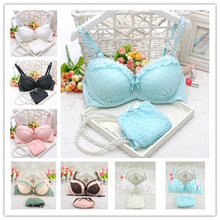 2014 new push up women bra set cute 32 34 36 A B C cup young girl sexy lace cotton underwear suit free shipping