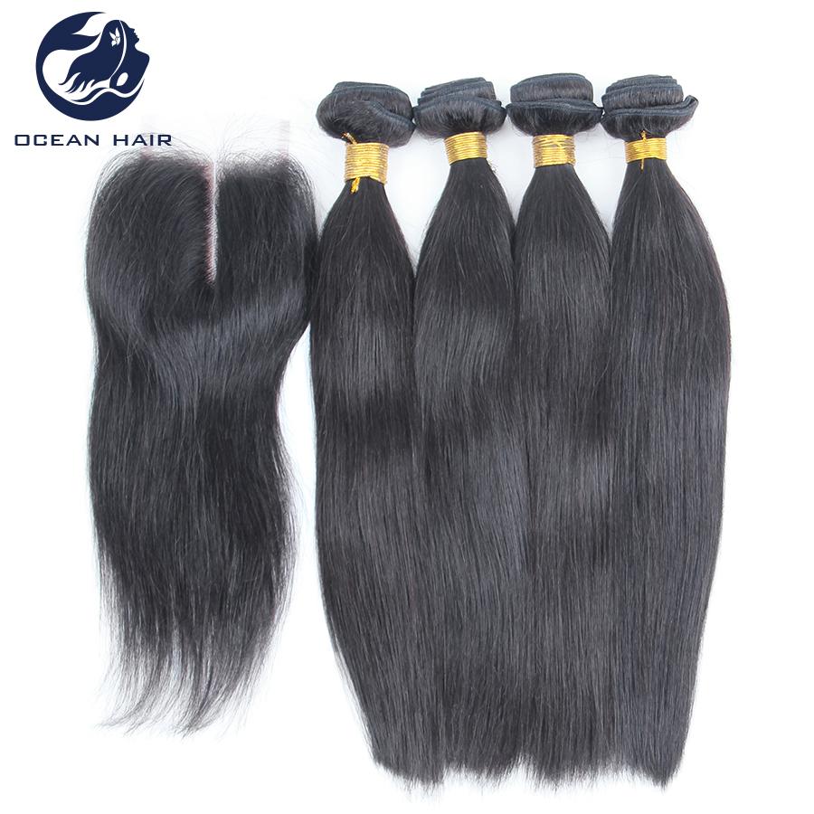 4-Bundles-Peruvian-Virgin-Straight-Hair-With-Closure ...