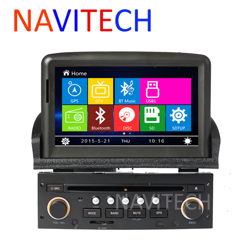 car dvd player gps navigation system for peugeot 307 2007 2008 2009 2010 2011 bluetooth radio. Black Bedroom Furniture Sets. Home Design Ideas