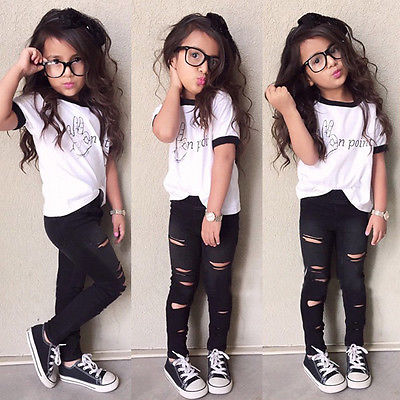 Girls Fashion Letter casual suit children clothing set Short Sleeve T Shirt Hole Pants 2015 summer