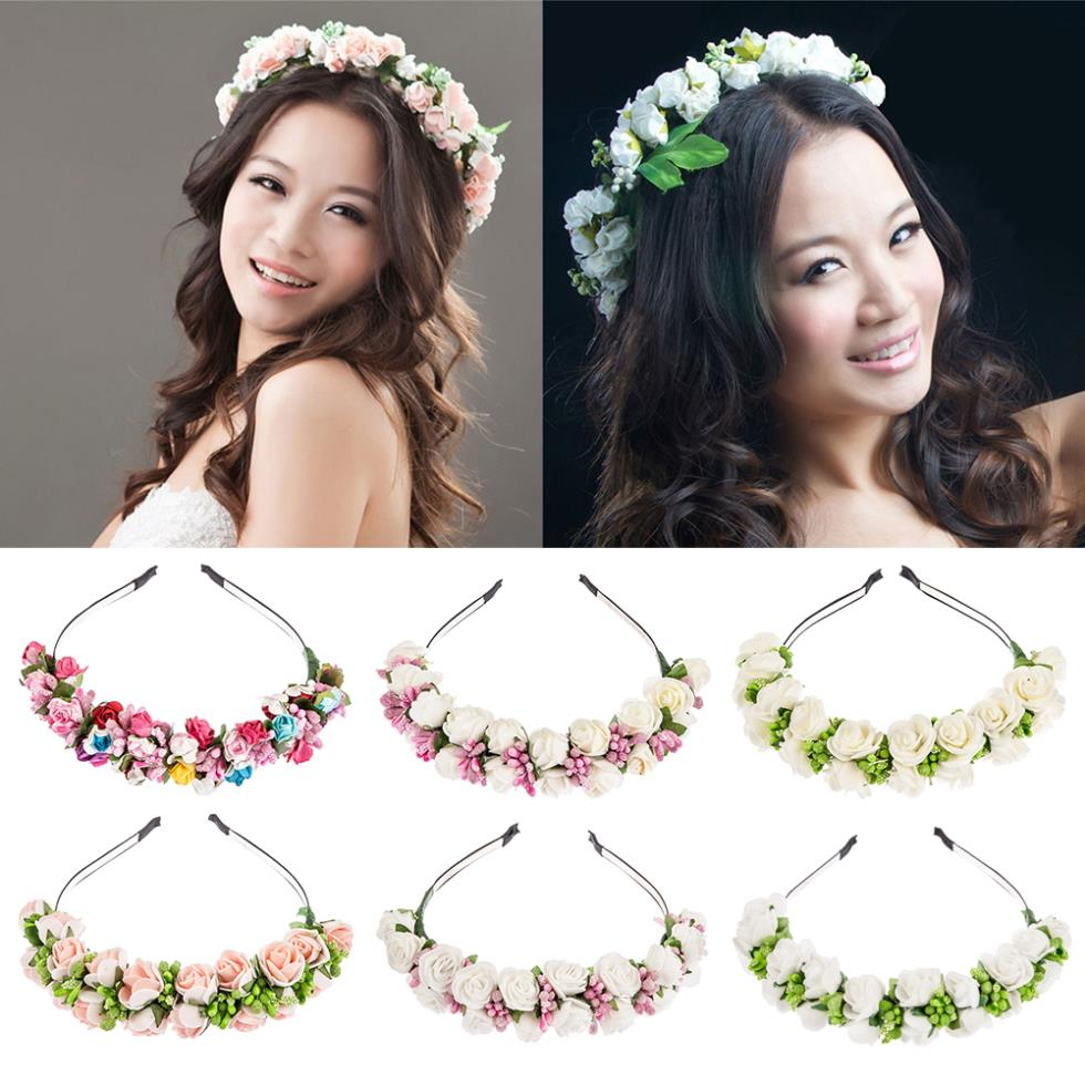 2015 New Flower Garland Floral Bride Headband Hairband Wedding Party Prom  Festival Decor Princess Floral Wreath Headpiece – Big Day Bridal 462167e6461