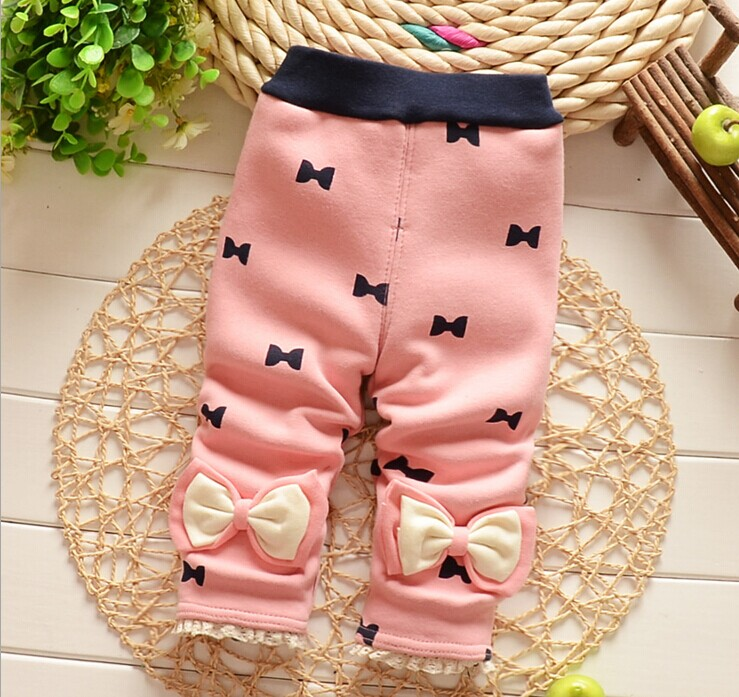 Free shipping 2016 New spring and autumn girls Leggings Soft Bow Babys pants B033