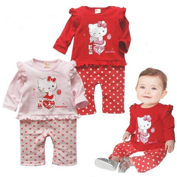 2016 causal baby girls rompers cartoon cotton hello kitty print jumpsuits newborn Infants todder one piece