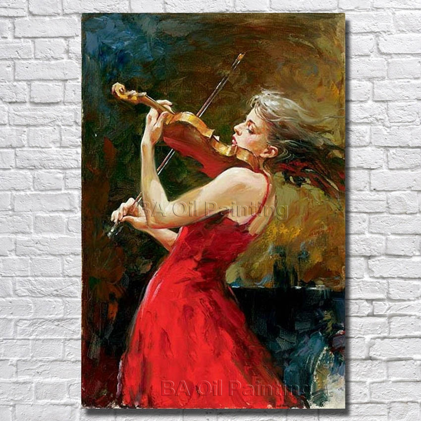 Abstract Pure Hand painted Women Play Violin Oil Painting ...