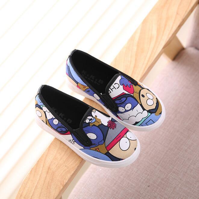 Children s canvas shoes 2016 autumn baby girls single cartoon recreational running flat garden shoes kids