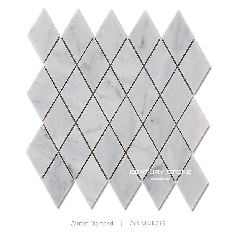 Cheap Polished Carrara White Diamond Shape Bathroom Floor