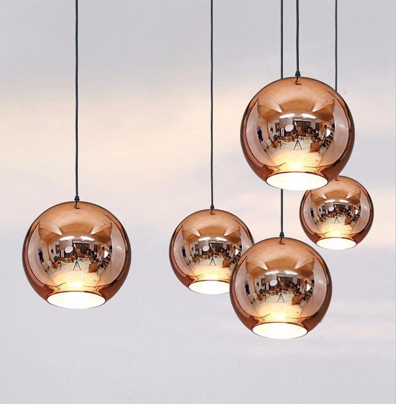 Horstent Nordic Home globe glass pendant lamp silver gold copper color dinning room living room light home decoration lighting (15)