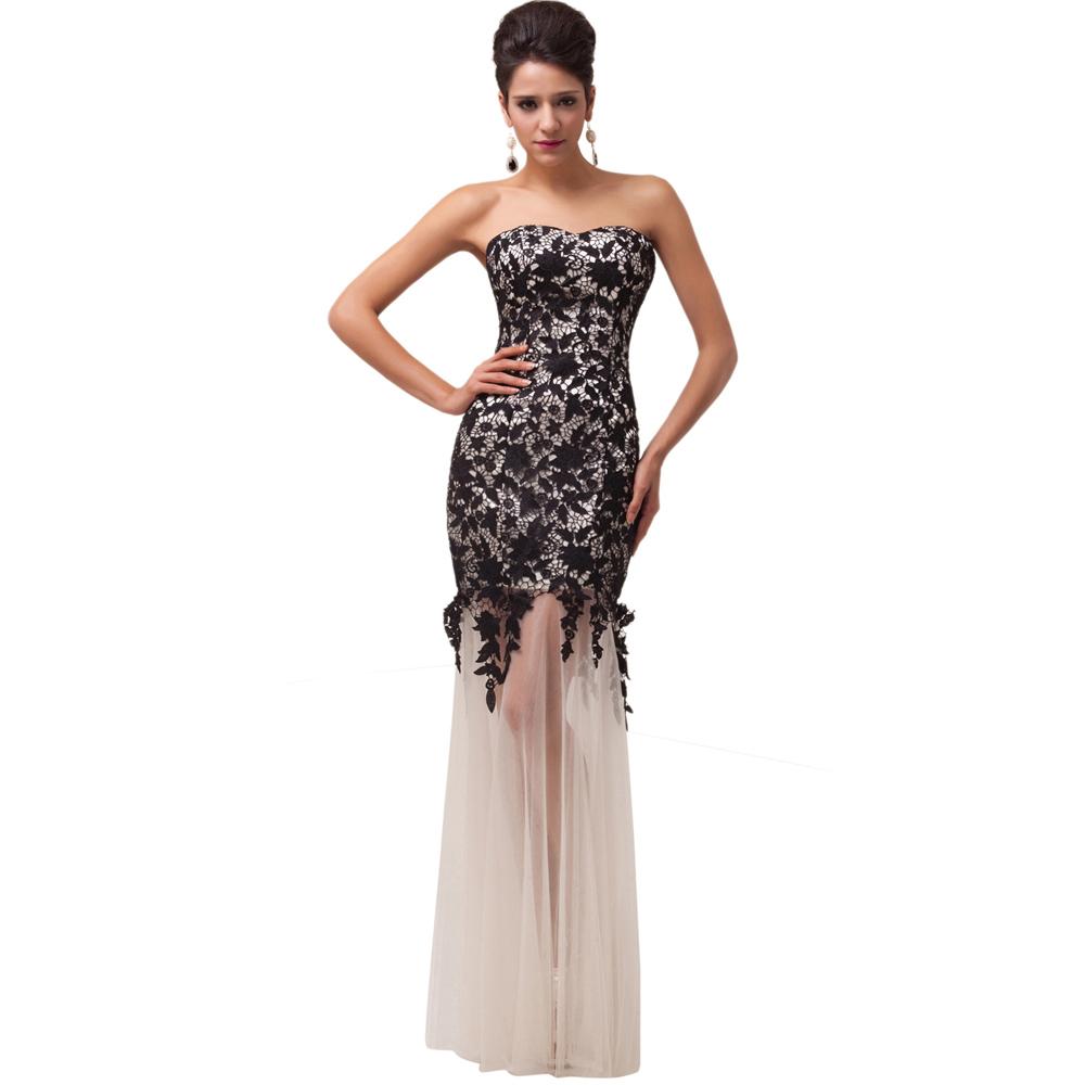 Grace Karin Mermaid Prom Dresses 2017 Black Lace Applique ...
