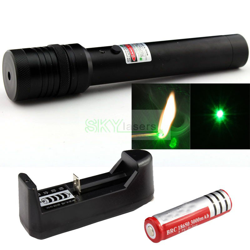 Flashlight Style Green Laser Pointer Adjustable Focusable