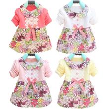 Da criança Do Bebê Meninas Vestido de Princesa Floral Bow One Piece Vestido Crianças de 0-2Y L07