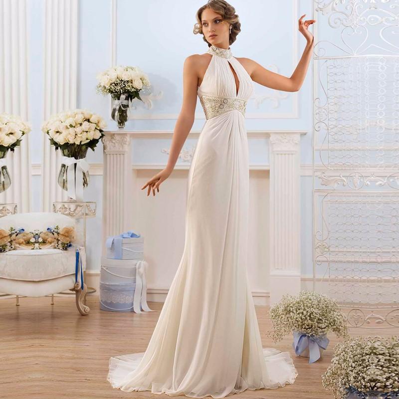 2019 Greek Style Elegant Wedding Dresses High Neck Bead Beach Bridal Wedding Gowns Vestidos De Novia Fashion Hollow Back
