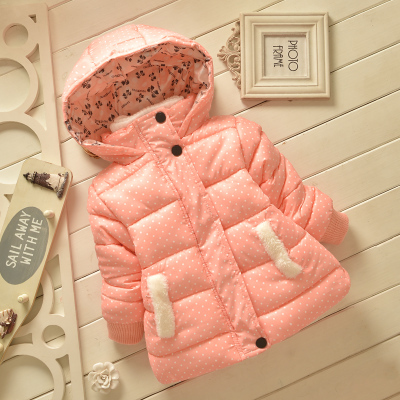 Children s clothing female child crumpled coat winter outerwear child thickening cotton padded jacket baby winter