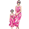 Beatiful Bohemian Family Dress Outfits Summer Mother Daughter Matching Clothes Floral Sleeveless Long Beach Dress AF1657