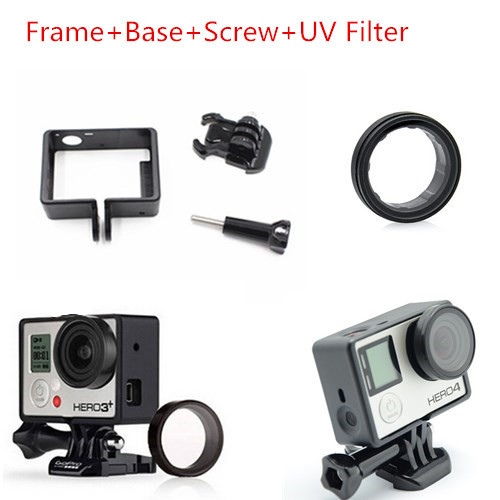 2015New Gopro Accessories Hero4 Standard Protective Frame Mount Base Mount Screw UV Filter Lens for Go