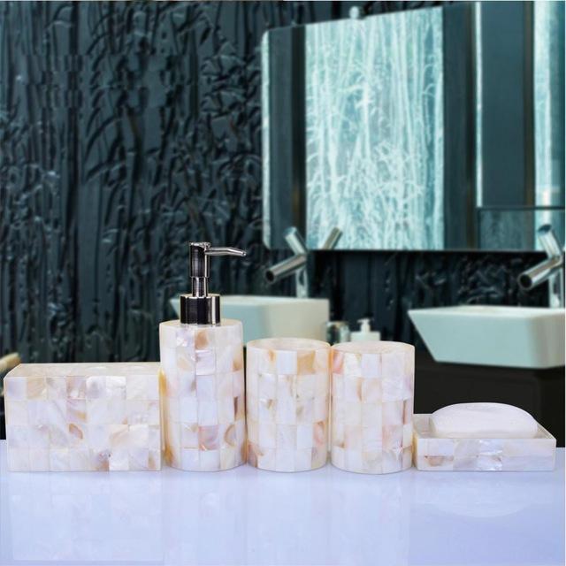 Elegant Bathroom Sets: Elegant Pearl Shell Bathroom Accessory Set Matural 5pcs