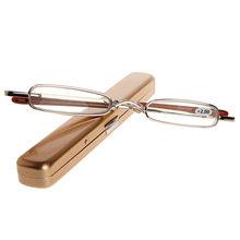 Мини портативный металлический полный рамки очки для чтения с Чехол + 1,0 + 1,5 + 2,0 + 2,5 + 3,0 + 3,5 + 4,0 + золото/красный/серый/серебро(Китай)