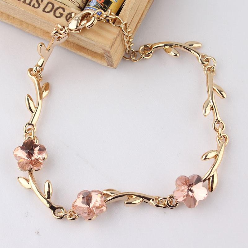 Женщины / девочка в 18 k желтое золото заполненные австрийской кристалл цветок браслет и браслет подарок ювелирные изделия