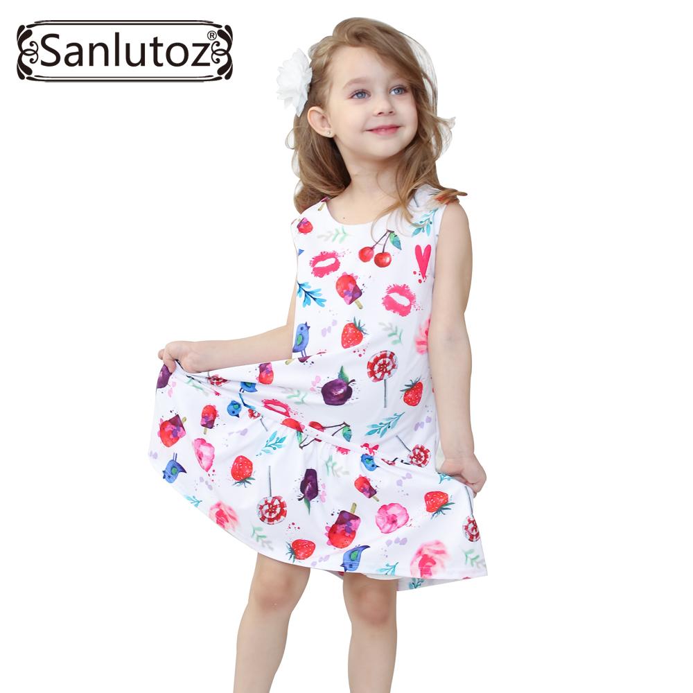 Girl Dress Children Clothing Summer Kids Clothes Beach Style Girls Clothes Cartoon Dress for Girls Toddler