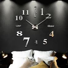 2016 New Home decoration big mirror wall clock modern design 3D DIY large decorative wall clocks watch wall unique gift