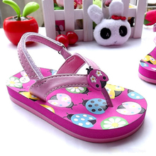 Lovely ladybird kids sandals girls flip flop casual kids beach shoes princess girls sandals fashion children shoes girls shoes