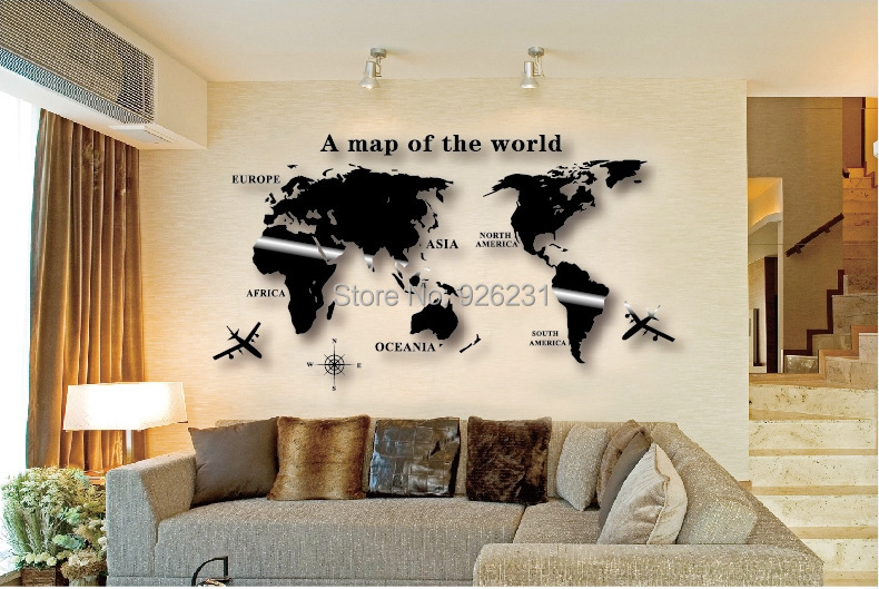 Acrylic Waterproof Stereoscopic Wall Stickers 3d World Map Wall