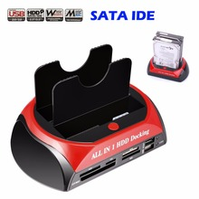 Newest All in 1 HDD Docking Station Dual Double 2.5″/3.5″ IDE SATA External HDD Box Card Reader USB 3.0/2.0 Hard Drive Disk Dock
