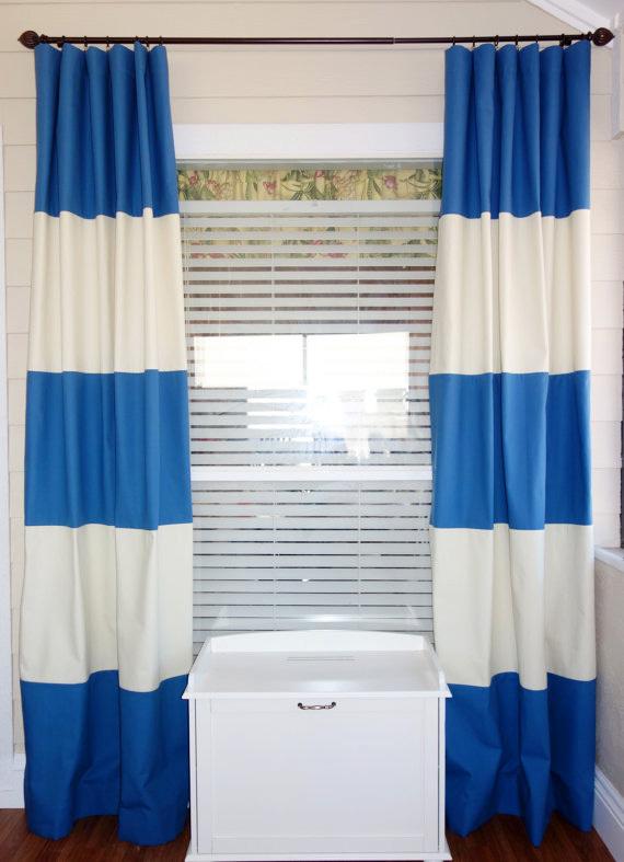 100 coton style moderne bleu et blanc bande horizontale rideau pour le salon fen tre dans. Black Bedroom Furniture Sets. Home Design Ideas