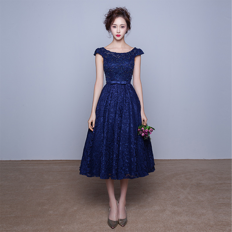 Black and blue prom dress