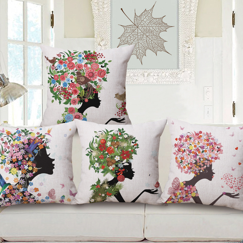 45cm 200g Pink Flower Cartoon Girl Thick Fashion Cotton Linen Throw Pillow Hot Sale 18 Inch New Home Decor Sofa Back Cushion MQQ