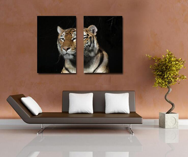 Living Room Western Style Big Tiger Painting Wall Simulated Decorative Animal Tigers Pictures 2 Pieces Home Decals
