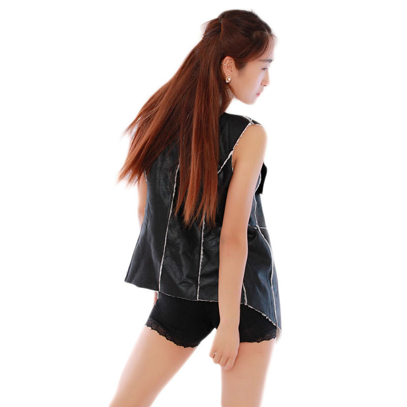 Зима женщины леди тёплый воротник жилет длинная полиуретан кожа жилет черный свободного покроя верхняя одежда YL660304