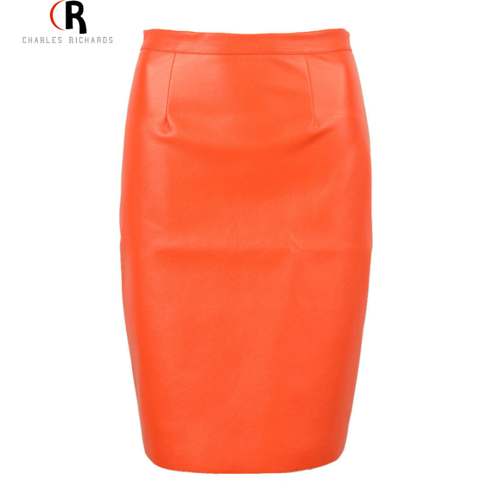 2016 Spring New Arrival PU Faux Leather High Waist Back Zipper Midi Tight Pencil Casual OL