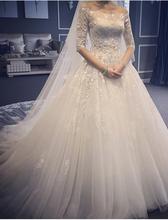 Glamorous 2016 New Arrival Appliques A Line Wedding Dress Vestido de novia Half Sleeve Lace Up Court Train Bridal Gown
