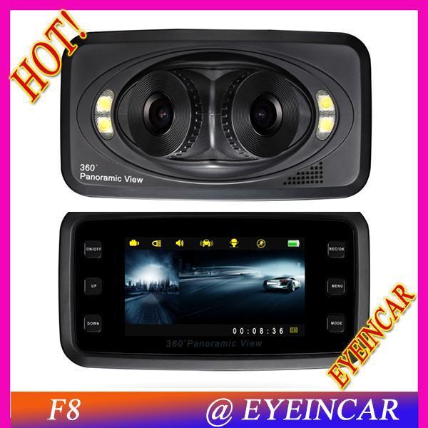 2013 best selling 3 lens dvr camera f8 night vision dash cam 360 degree wide view angle mini dvr. Black Bedroom Furniture Sets. Home Design Ideas