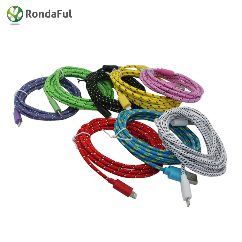 2016 Colorful 1M 3ft Nylon Cable USB Data Cable charger for iphone 5 5s 5c 6
