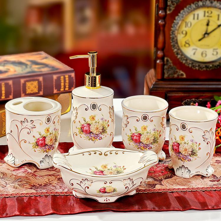 Elegant Bathroom Rose: 2014 Rose Ivory Ceramic Bathroom Accessories Set Bathroom